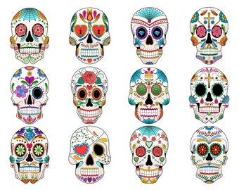 Sugar Skull Clip Art- Set of 12 Colorful Sugar Skulls, PNG, JPG and Vector Files