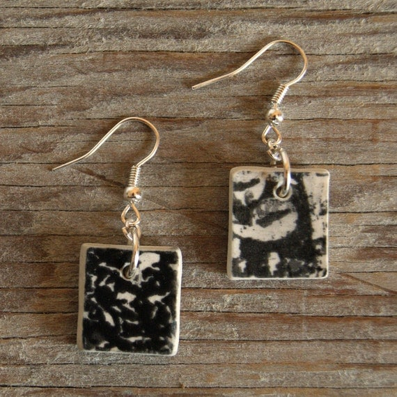 Vintage abstract print square semi porcelain drop earrings