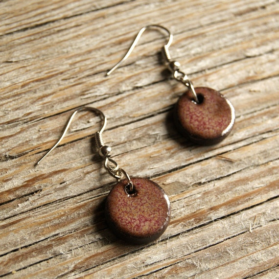 SMALL glossy pink round stoneware drop earrings