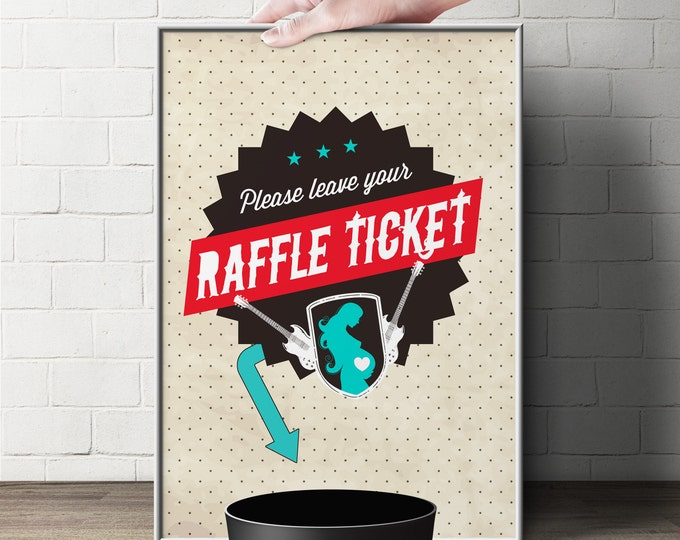"Diaper Raffle Sign ""ROCKSTAR"" (Printable File Only) Bring Diapers for Mom Raffle, baby shower, baby shower games, baby shower sign"