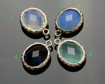 Gold Bezel Crystal Oval Shape Charm 12x13mm, 2 pcs