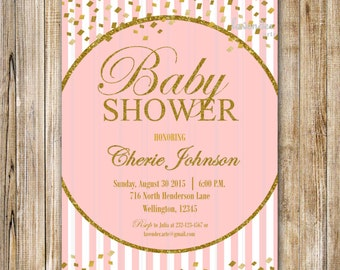Pink Stripes Baby Shower Invitation, Gold Confetti Baby Sprinkle, Baby Girl Shower Invite, Confetti Baby Shower, Pink and Gold, Open House