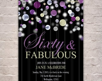 Sixty and Fabulous Invitation, 60 and Fabulous Invite, Purple Glitter Birthday Party, 60th Birthday Invite, Fabulous at 60, Purple Birthday