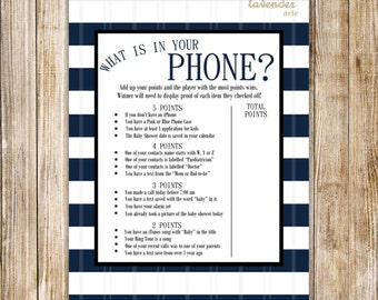 What is in Your Phone? Game, Nautical Baby Shower, Navy Blue Baby Sprinkle Cell Phone Activity, Baby Boy, DIY Printable Instant Download