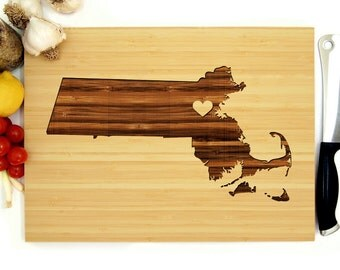 Personalized Wedding Gift, Custom Engraved Wood Cutting Board, Massachusetts State Engraving With Heart, Housewarming Gift, Bridal Shower