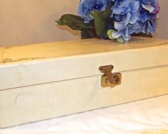 Vintage Hard Cardboard Jewelry Box, 1950s Jewelry Box, Cream Cardboard Jewelry Box