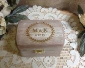 Rustic Ring Bearer Box, Wedding Ring Box, Shabby Chic Ring Box, Country Barn Box, Pillow Ring, Personalized Ring Box, Engraved Ring Box