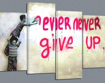 Banksy /never never give up/ set of 4 canvas prints /32x20