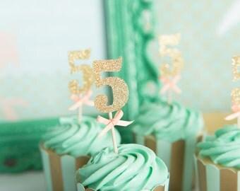 Glitter number cupcake topper