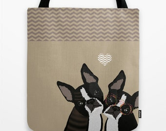 Dog tote bag, Boston Terrier Bag, 13x13 16x16 18x18 Birthday Gift for her Brown Pups dogs lover, pet lover, Cute Boston Terrier, shopping