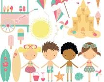 Beach girls,boys,ice cream cart and sandcastle, digital clip art set