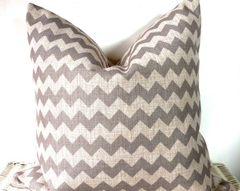 "Grey chevron cushion grey zig zag cushion cover 18x18"""