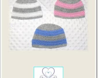 Newborn Baby Crocheted Beanies (Set of 3) Grey/White, Grey/Pink, Grey/Blue.