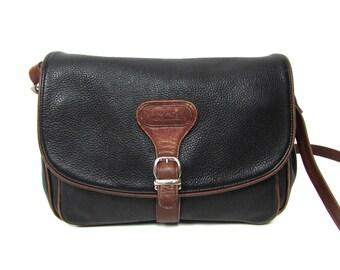 Vintage 70's 80's Real Leather Black   Brown Bag Cross Body Messenger // Satchel Leather Bag