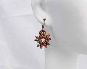 Superduo earrings- Crystal Violet Rainbow