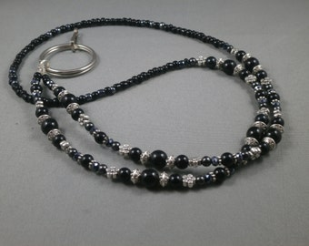 """Black beaded lanyard necklace with bead chain 26"""" to 42"""" long ID badge holder leash , eyeglasses strap , keychain or key card clip unique"""