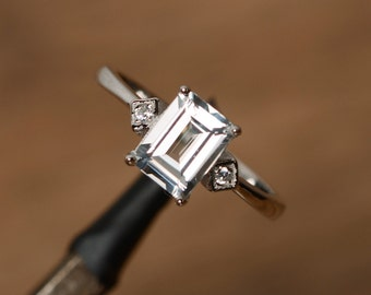 white topaz ring sterling silver ring emerald cut topaz gemstone ring promise ring for her