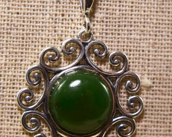 Genuine 12mm  Jade and Sterling Silver Necklace
