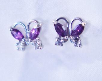 Rhodolite Sterling Silver Butterfly Earrings