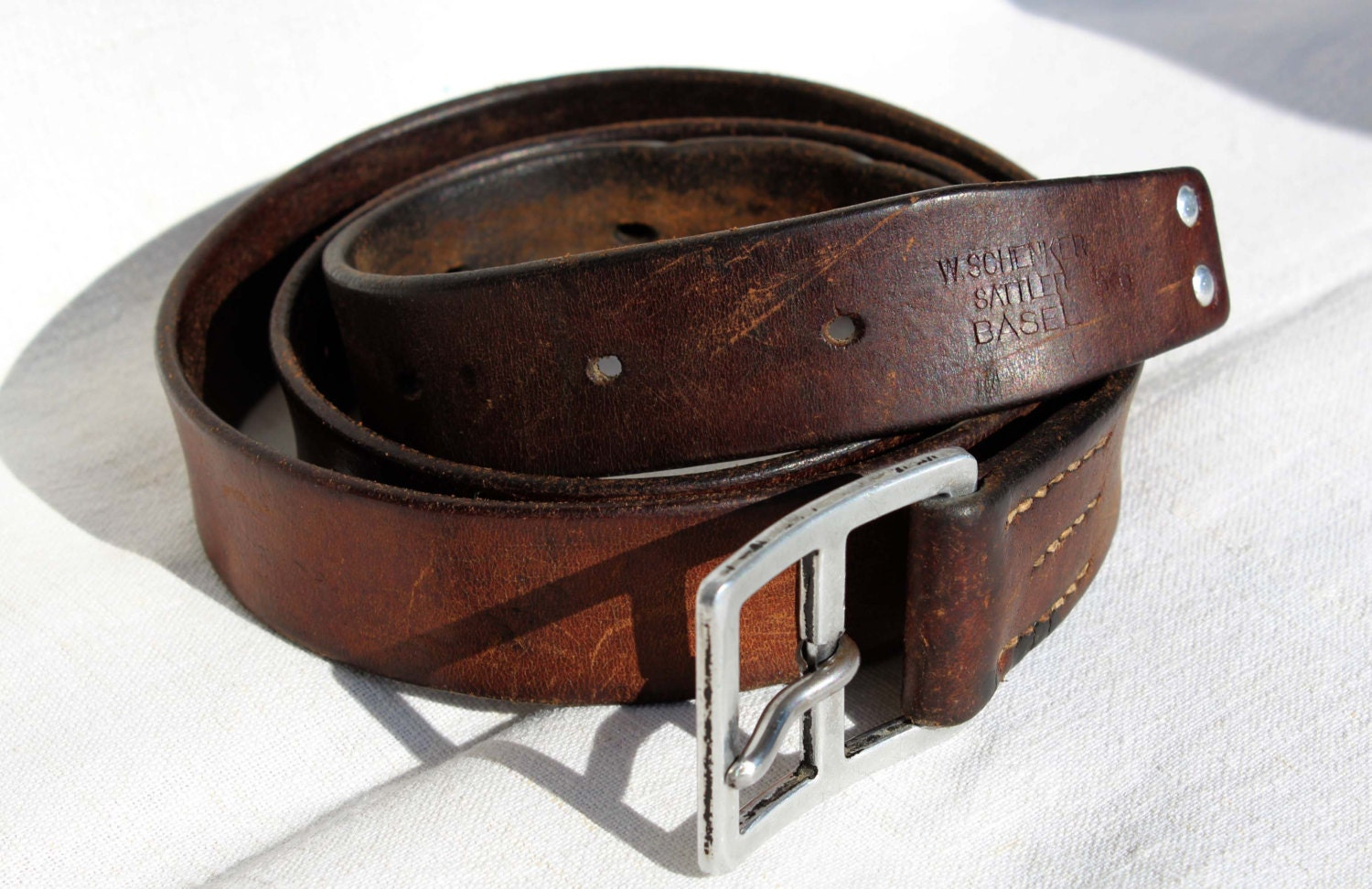 vintage swiss army leather belt from 1956 47 inches 120cm