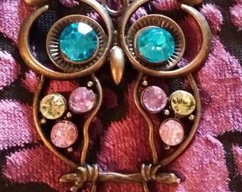 Handmade large rhinestone owl  necklace.