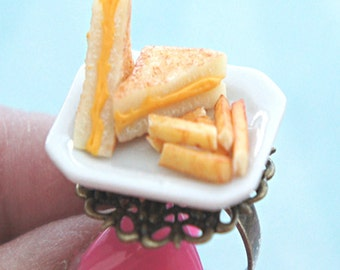 grilled cheese sandwich and fries plate ring-miniature food jewelry, food ring