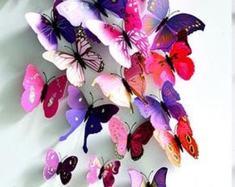 Mixed purple and rose red Stereoscopic Butterflies wall sticker ,3D butterflies wall decal- set of 24 pcs butterflies,various sizes