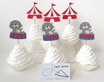 Circus Cupcake Toppers - Carnival Cupcake Toppers - Circus Party Decorations - Circus Decorations - Cupcake Toppers - Circus Party