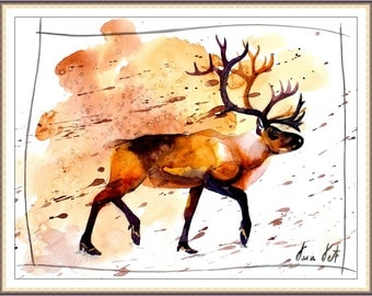 Watercolor Painting Print - 'DEER ' - Fall home decor and wall art -Art Print