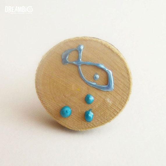 Summer ring, Pisces ring, fish ring, Nautical ring, Ocean ring, Beach ring, light blue ring, wooden ring