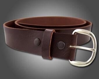 Handmade Mahogany Leather Buffalo Hide Belt #100
