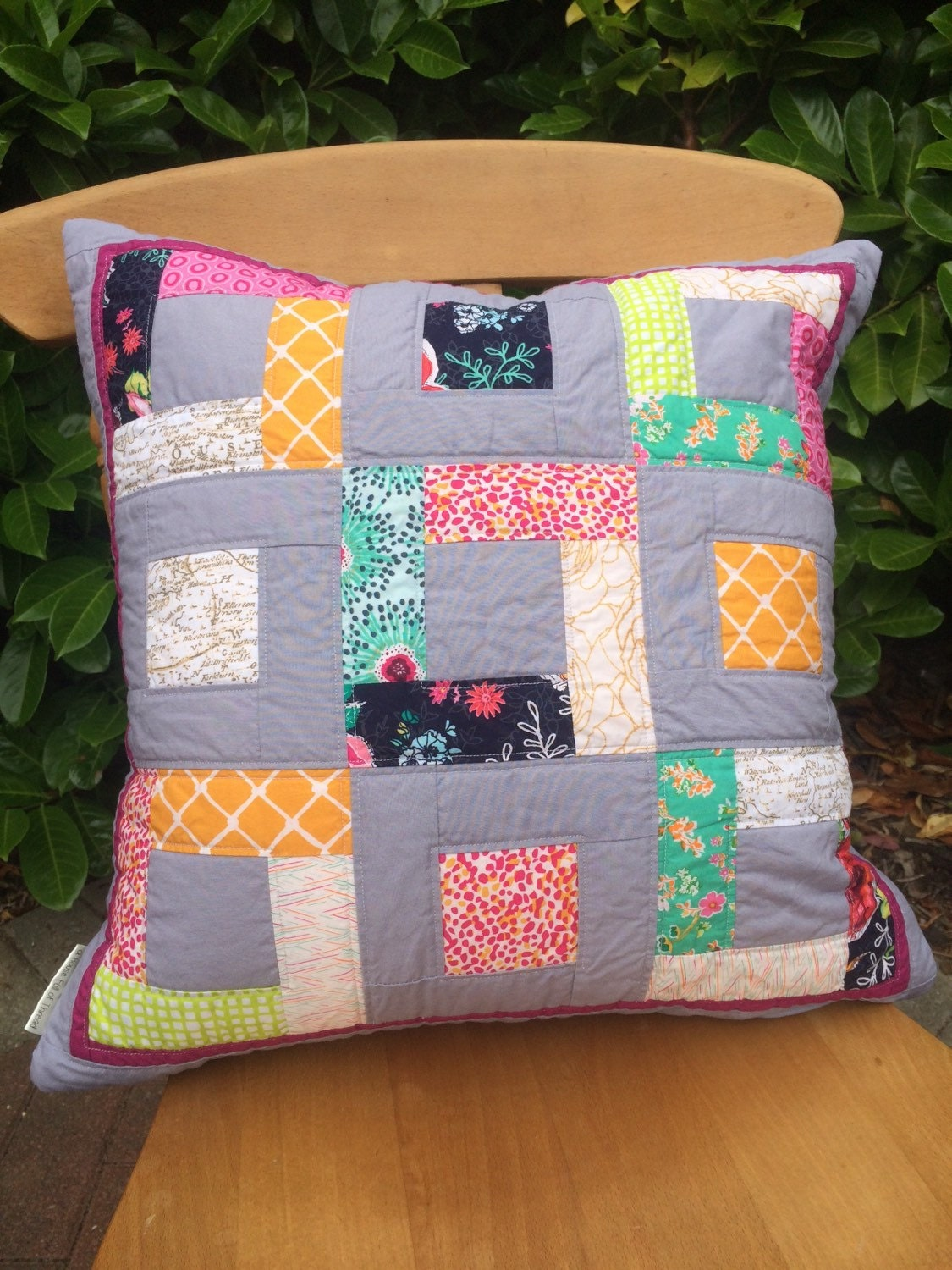 Modern Quilted Pillow Covers : Large Bright Modern Pillow Cushion Patchwork Quilted Cover