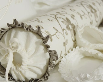 """Linen decorative/functional bolster - French Cottage embroidered bolster -  ruffles bolster 5""""x24"""""""