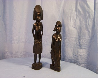 Pair African Hardwood Figures. Hand carved.