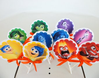 Inside Out Cupcake Topper.. Cake topper..special day birthday party Girls and boys  Birthday Party....SET OF 10..