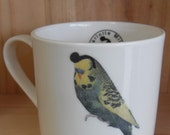 Burning Love - 3/4 Pint sized Bone China mug with Elvis the budgie illustration ceramic transfer