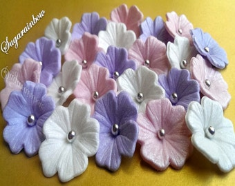 20 Edible Veined Glossy Sugar Flowers Blossoms Blooms For Cakes  Cupcakes