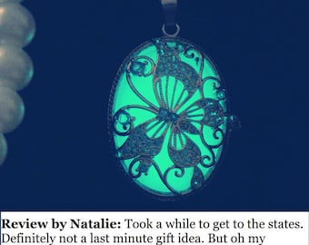Platinum-plated Butterfly Glow In the Dark Necklace - Butterfly Necklace- Glow in the Dark Jewelry –FREE Gift Box/UV Torch/Exquisite Card