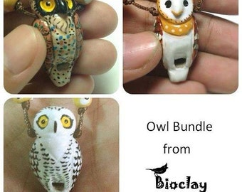 3 Owls bundle clay whistle necklace handmade Bioclay Thailand