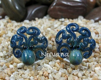 """Exotic Blue Octopus Plugs Pyrex Glass One Pair - 00g 7/16"""" 1/2"""" 9/16"""" 5/8"""" 3/4"""" 1"""" 9.5 mm 10 mm 12 mm 14 mm 16 mm 18 mm 20 mm 25 mm"""