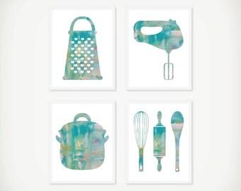 Kitchen Watercolor Art Print Set - Kitchen Art - Kitchen Decor - Modern Art - Watercolor Art - Set of 4 Prints