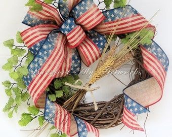 Rustic~FOURTH of JULY WREATH~Americana~Patriotic~Antiqued~Burgundy~American Flag~Burlap~Natural~Navy~Tan~Primitive~Neutral