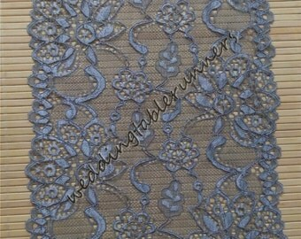 Charming Grey Lace Table Runner, Grey Wedding Decor, Grey Weddings, Lace Table Runner ,