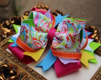 MULTI COLOR Hair Bow, Stacked Hair bow- Girls Bow -Toddler Bow -Infant Bow -Birthday Bow- Boutique Bow - Large Boutique Bow