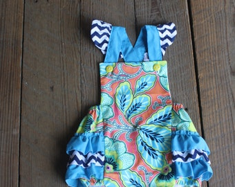 baby ruffled romper size 2T...... custom made and ready to go!