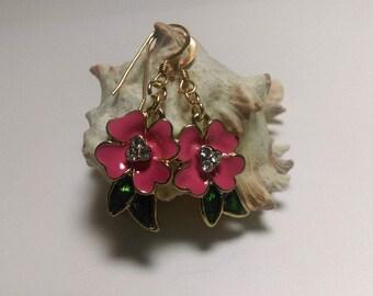 Pink flower crystal gold earrings