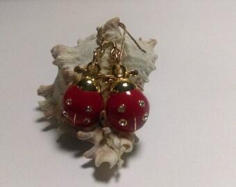 Ladybug crystal gold earrings