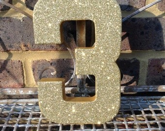 Gold Glitter Number 3, Paper Mâché Numbers, 3rd Birthday Party Decor, Gold Glitter Number 3