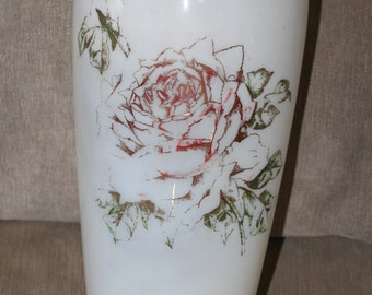 SALE   This Hand Painted, Large, Tall Vase, White Glass, 15 Inches Tall, The Design is Original and Unique.