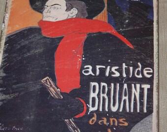 AMBASSADEURS, Aristide Bruant, Henri de ToulousenLautrec, 1950s Imp.Edw.Ancourt, Paris, Dans Son Cabaret,Reproduction Collectible